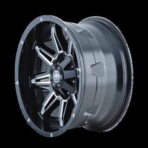 22x9.5 8x180 5.01BS 8090 Rampage Black/Milled - Mayhem Wheels