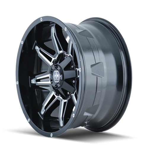 18x9 6x5.5/6x135 5.75BS 8090 Rampage Black/Milled - Mayhem Wheels