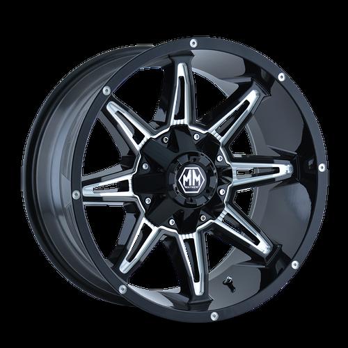 18x9 8x180 4.53BS 8090 Rampage Black/Milled - Mayhem Wheels