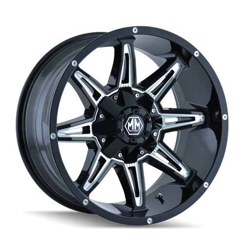 18x9 5x5.5/5x150 4.53BS 8090 Rampage Black/Milled - Mayhem Wheels