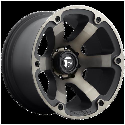 17x9 6x5.5 4.5BS D564 Beast Black Mach w/Dark Tint - Fuel Off-Road