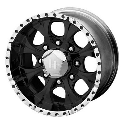 17x9 5x135 4.53BS HE791 Gloss Black Machined - Helo Wheels