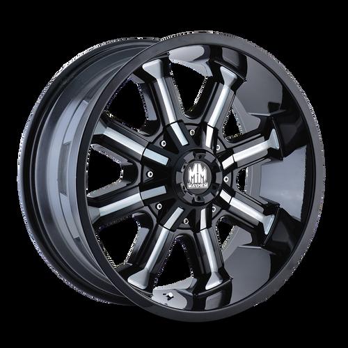 18x9 8x6.5/8x170 4.5BS 8102 Beast Gloss Black/Milled Spokes - Mayhem Wheels