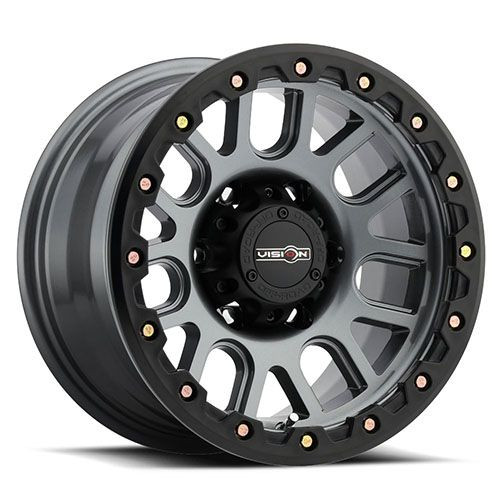 18x9 6x5.5 5.7BS 111 Nemesis Gunmetal w/Yellow Zinc Bolts - Vision Wheel