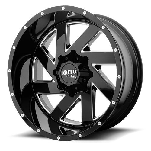 22x12 6x5.5/6x135 4.77BS MO988 Melee Gloss Black Milled - Moto Metal Wheels