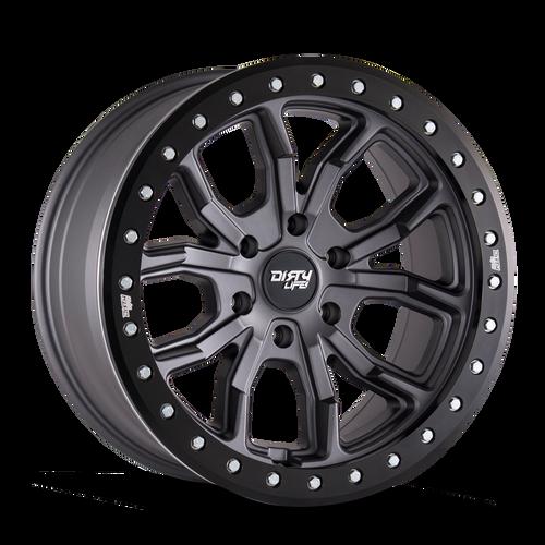 17x9 6x5.5 4.53BS Dt1 Matte Gunmetal - Dirty Life Wheels