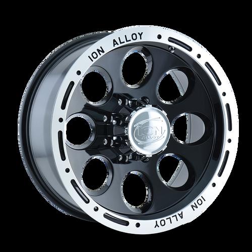 17x9 5x5 5BS Type 174 Black/Machined Lip - Ion Wheel
