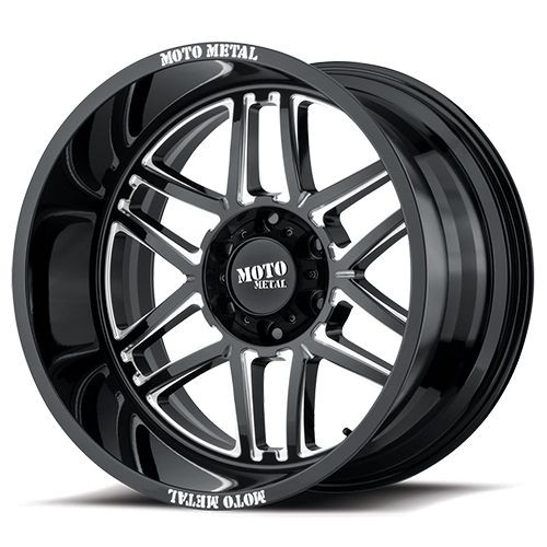 20x9 5x5.5 5.71BS MO992 Folsom Gloss Black Milled - Moto Metal Wheels