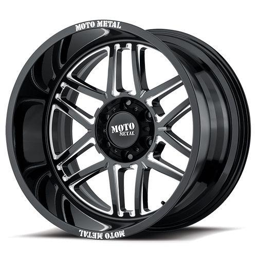 20x9 8x180 5.71BS MO992 Folsom Gloss Black Milled - Moto Metal Wheels
