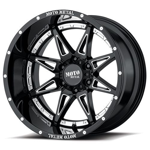 20x10 6x135 4.79BS MO993 Hydra Gloss Black Milled - Moto Metal Wheels