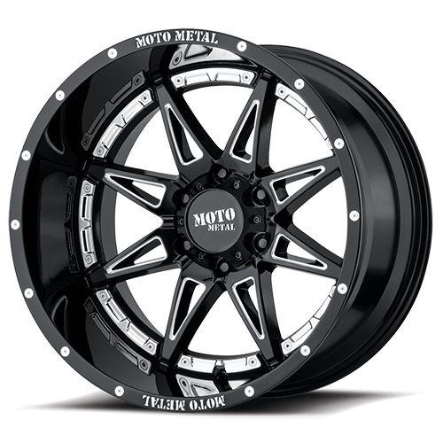 17x9 8x6.5 4.53BS MO993 Hydra Gloss Black Milled - Moto Metal Wheels