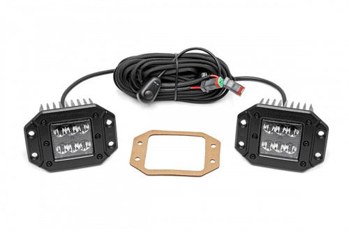 2in Square Flush Mount Cree Led Lights Black Series 70803BL - Rough Country Suspension