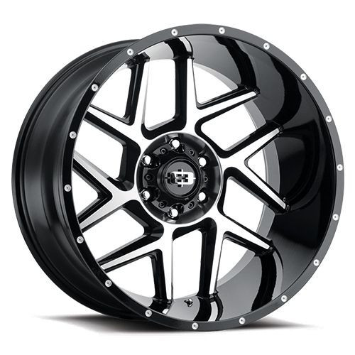 24x12 6x5.5 4.25BS 360 Sliver Gloss Black Machined Face - Vision Wheel