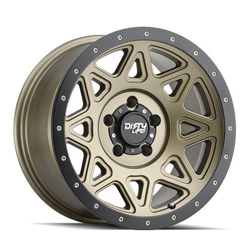 20x9 5x150 5.71BS Theory Matte Gold W/ Matte Black Lip - Dirty Life Wheels