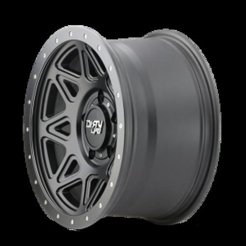 17x9 6x5.5 4.53BS Theory Matte Black - Dirty Life Wheels