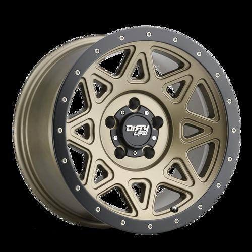 18x9 8x6.5 5BS Theory Matte Gold W/ Matte Black Lip - Dirty Life Wheels