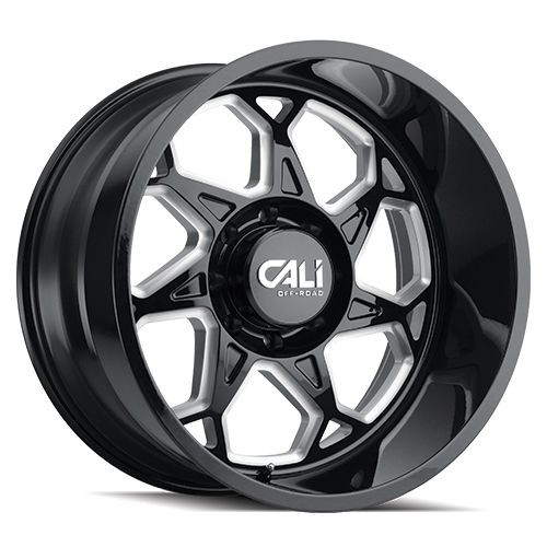 24x12 8x6.5 4.49BS 9111 Sevenfold Gloss Black/Milled Spokes - Cali Off Road