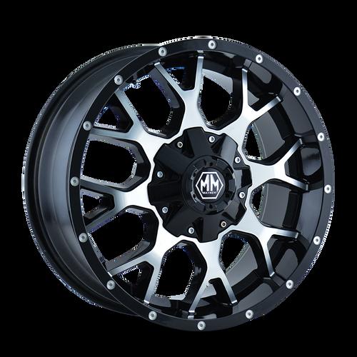 22x12 6x5.5/6x135 4.77BS 8015 Warrior Black/Machined Face - Mayhem Wheels