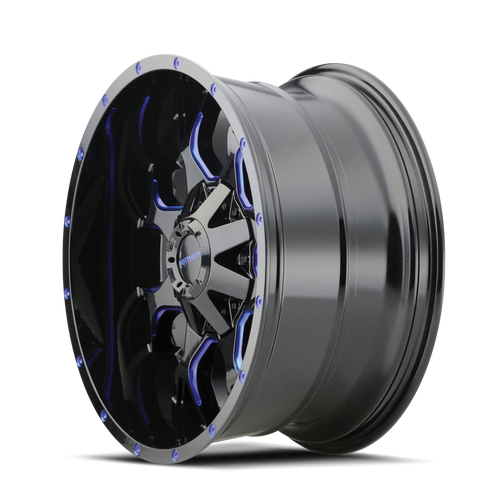 20x9 6x5.5/6x135 5.71BS 8015 Warrior Black w/Prism Blue - Mayhem Wheels