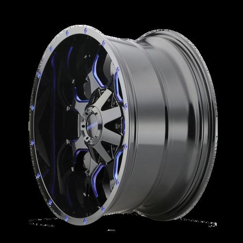 20x9 8x6.5/8x170 5.71BS 8015 Warrior Black w/Prism Blue - Mayhem Wheels