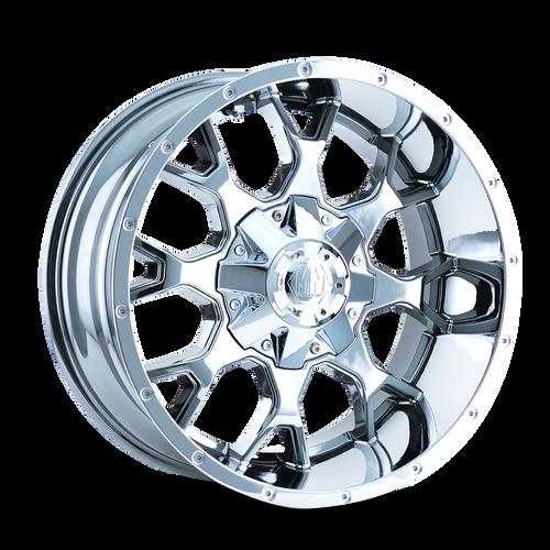 20x10 5x5/5x5.5 4.52BS 8015 Warrior Chrome - Mayhem Wheels