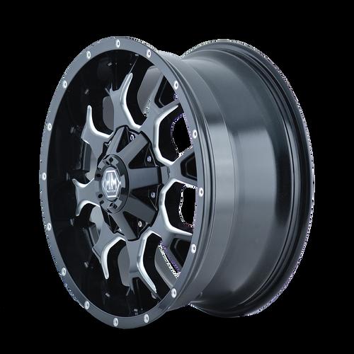 17x9 6x4.5/6x5.5 5.71BS 8015 Warrior Black Milled Spokes - Mayhem Wheels