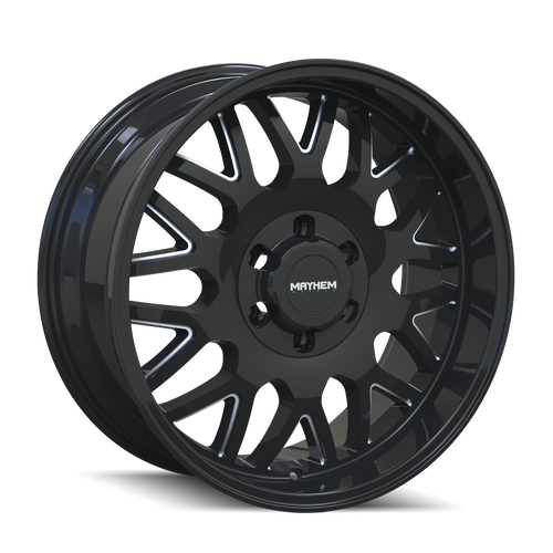 20x10 8x170 4.75BS 8110 Tripwire Gloss Black/Milled Spokes - Mayhem Wheels