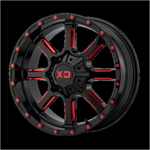 22x12 8x6.5 4.77BS XD838 Mammoth Gloss Blk Mil w/Red - XD Wheels