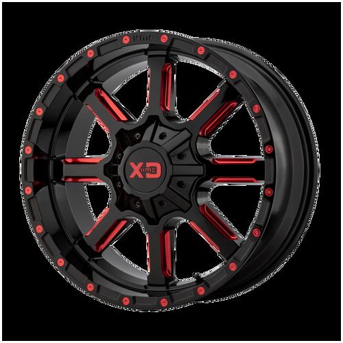 22x12 8x180 4.77BS XD838 Mammoth Gloss Blk Mil w/Red - XD Wheels