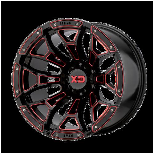 20x10 6x135 4.79BS XD841 Boneyard Gloss Blk Mil w/Red Tint - XD Wheels