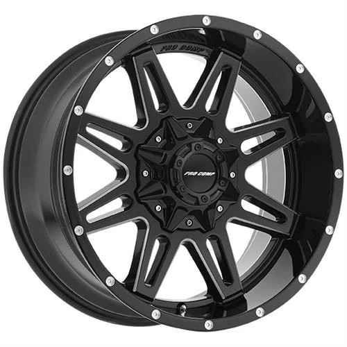 20x9.5 5x150/5x5.5 5BS Type 8142 Gloss Blk/Milled - Pro Comp Wheels