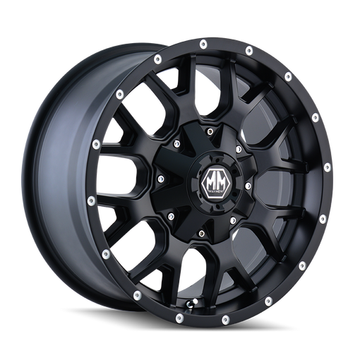 17x9 8x180 5.75BS 8015 Warrior Matte Black - Mayhem Wheels