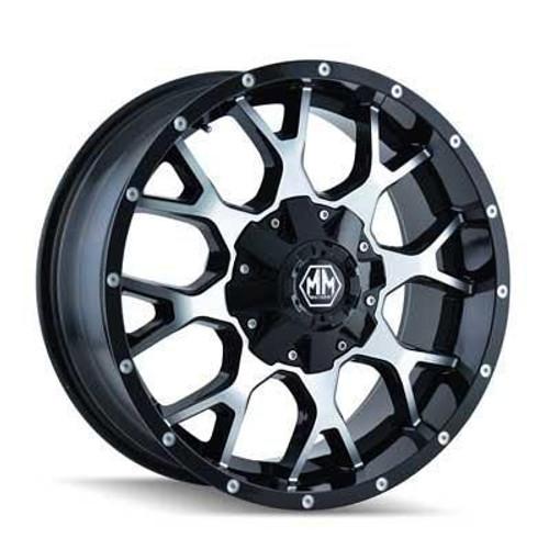 17x9 5x5.5/6x5.5 4.53BS 8015 Warrior Black/Machined - Mayhem Wheels