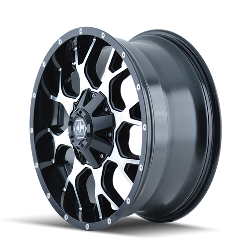 18x9 8x180 4.53BS 8015 Warrior Black/Machined - Mayhem Wheels