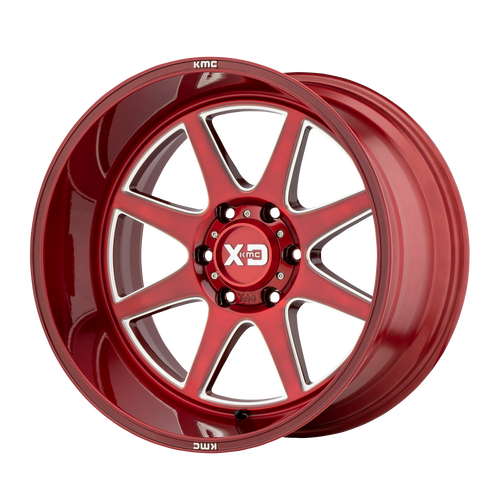 20x9 8x6.5 5BS XD844 Pike Red w/Milled Accents - XD Wheels