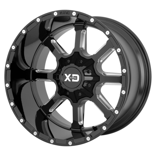 22x12 8x170 4.77BS XD838 Gloss Black Milled - XD Wheels