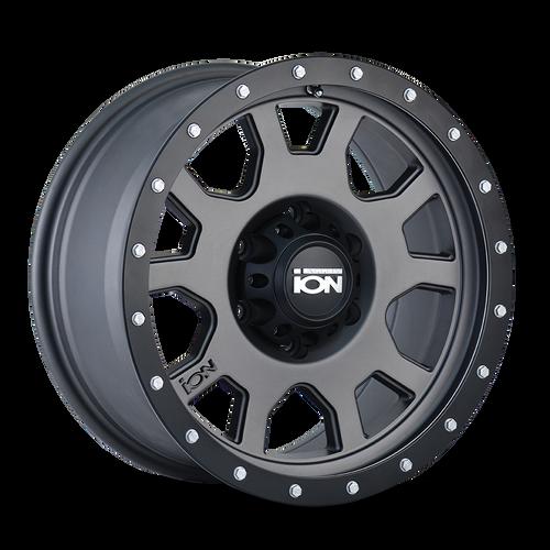 18x9 6x135 5.71BS Type 135 Matte Gunmetal/Black Beadlock - Ion Wheel