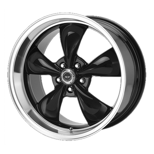 18x10 5x4.5 6.44BS AR105 Torq Thrust M Black Machined Lip - American Racing