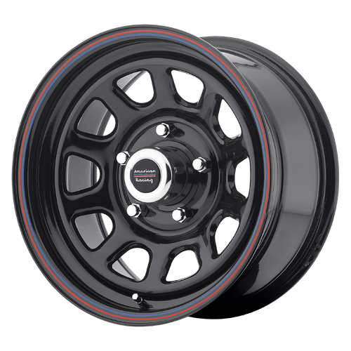 16x8 5x5.5 4.97BS AR767 Gloss Black w/Red Lip - American Racing