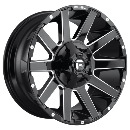 18x9 5x4.5/5x5 5.04BS D615 Contra Gloss Black Milled - Fuel Off-Road