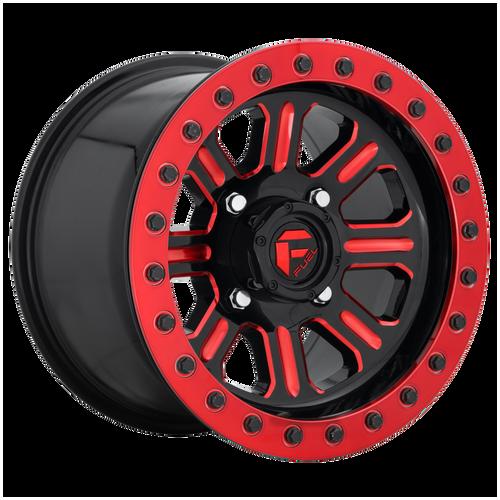 15x7 4x137 5.5BS D911 Hardline Gloss Black w/Red Tint - Fuel Off-Road