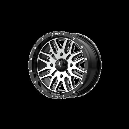22x7 4x156 4.39BS M38 Brute Gloss Black Machined - MSA Wheels
