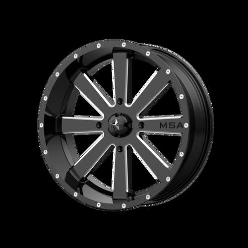 24x7 4x137 4BS M34 Flash Gloss Black Milled - MSA Wheels