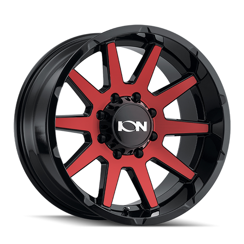20x9 8x170 5BS Type 143 Black W/Red Face - Ion Wheel