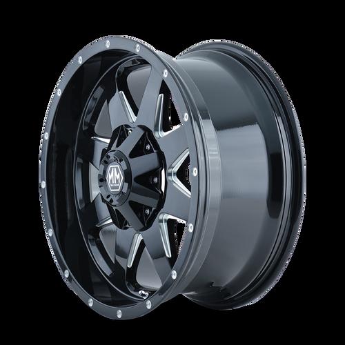 17x9 5x5 5.71BS 8040 Tank Black/Milled Spokes - Mayhem Wheels