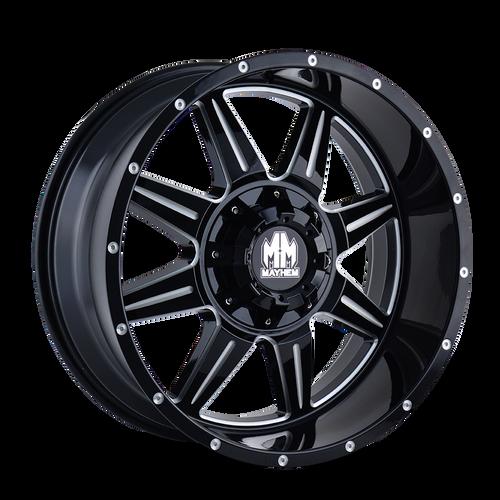 20x9 6x5.5 5BS 8100 Monstir Black/Milled Spokes - Mayhem Wheels