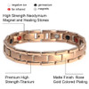 """<img src=""""mens gold color magnet bracelet .png"""" alt=""""casual magnetic therapy jewelry  strong  top view    magnetic-bracelet-jewelry   Novoa Men's Rose Gold Colored    Novoa Men's Quad-Element Rose Gold Colored Titanium Magnetic Bracelet  """">"""