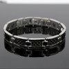 Novoa Men's Quad-Element Polished Silver Titanium Magnetic Bracelet with Carbon Fiber Inlays