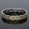 "<img src="" mens silver titanium  & Gold color  magnet bracelet .png"" alt=""casual magnetic therapy jewelry   side view         Novoa Men's Quad-Element Satin Titanium Magnetic Bracelet With Gold Accents - 12,800 Gauss B430J "">"