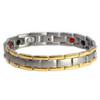 """<img src="""" mens silver titanium  & Gold color  magnet bracelet .png"""" alt=""""casual magnetic therapy jewelry   Front view         Novoa Men's Quad-Element Satin Titanium Magnetic Bracelet With Gold Accents - 12,800 Gauss B430J """">"""